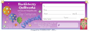 Longarm Quilting Gift Certificate - Celebrate